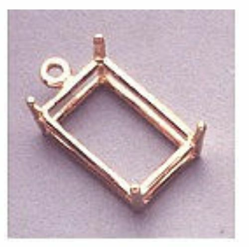 14kt White or Yellow Gold Octagon Dangle Pendant Setting (7x5mm to 25x18mm)
