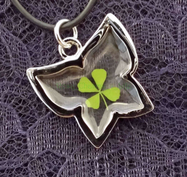 Real four leaf clover with butterfly cord 19
