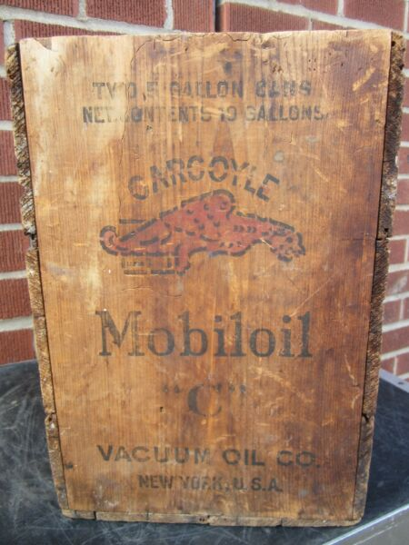 Old MOBILOIL GARGOYLE Wooden Crate - 2x 5 gal box - vacuum oil New York