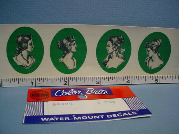 Water Mount Slide Decals 4 Cameo Portrait #94426 Dollhouse Miniature $4.99