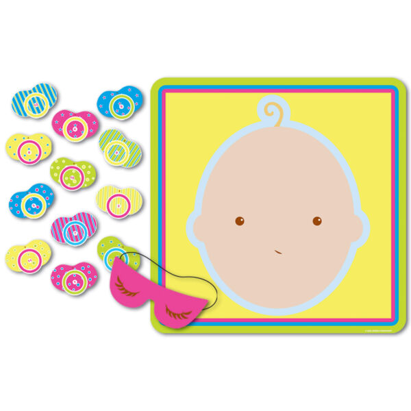 1 Baby Shower Party Game Ice Breaker PIN THE PACIFIER ON THE BABY for 12 Guests $7.99