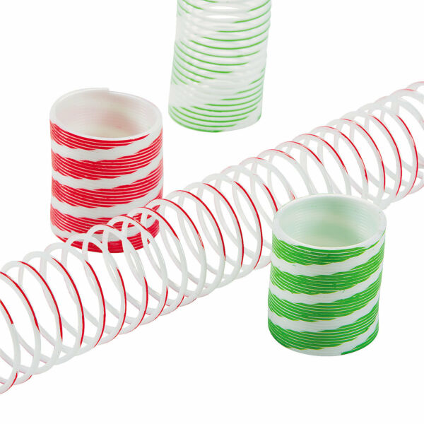 12 CHRISTMAS Holiday Party Favors MINI MAGIC SPRINGS Toys Peppermint Stripes