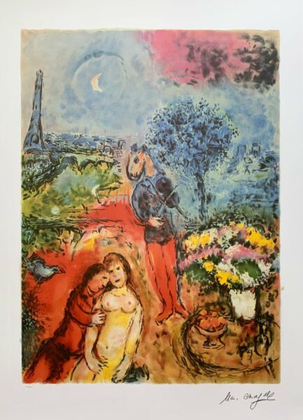 Marc Chagall EIFFEL TOWER SERENADE Signed Limited Edition Lithograph Art 35quot;x24quot;
