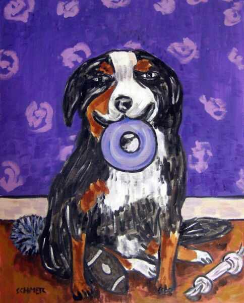 Bernese Mountain DOG with dog toy 13x19 PRINT Signed JSCHMETZ