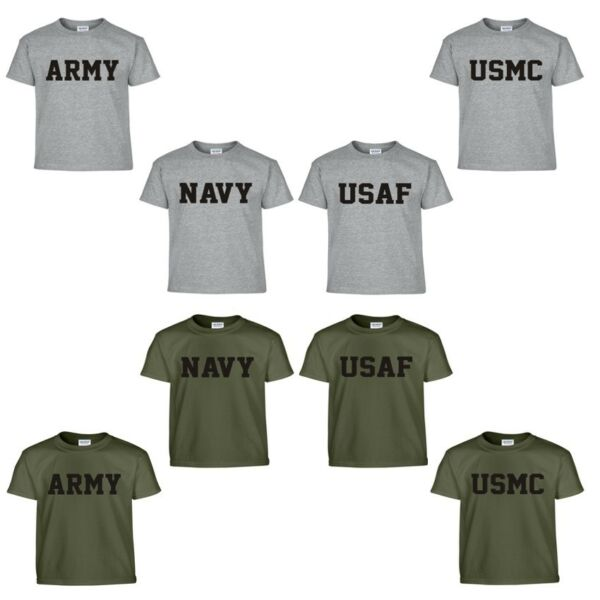 US Army Navy Air Force USAF Marines USMC Military Physical Training PT T Shirt