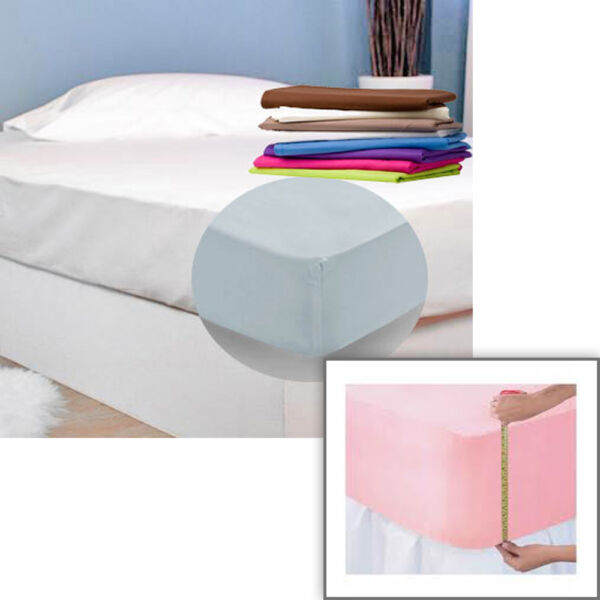 Single Double King Size Fitted Sheets With Extra Depth Corners - Premium Quality