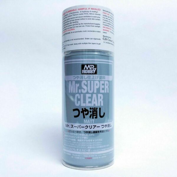 Mr Super Clear FLAT Matte Matt 170ml Spray Sealant B514:700 Model NEW VERS Hobby