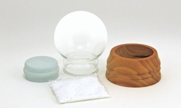 DIY Make Your Own Small Snow Globe Kit with Glass Globe and solid Wood base
