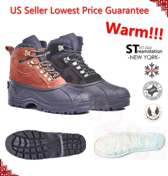 Men Winter Snow Insulated Boots Genuine Leather Waterproof Shoe 1001 Brown Black