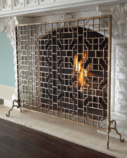 NEW Designer Horchow Single Panel Burnished Gold Finish Fireplace Screen Modern