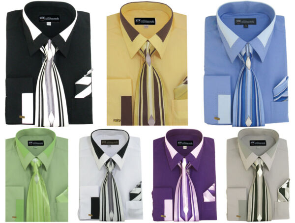 Men's French Cuff Dress Shirt with Tie and Handkerchief 7 Colors Size 15~20 MS34