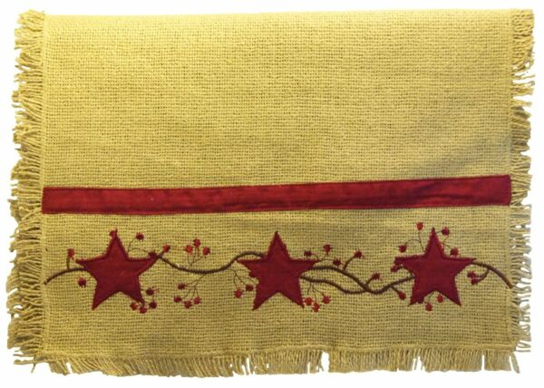 Primitive Star Vine Country Burlap Table Runner 13quot; x 36quot; by The Country House