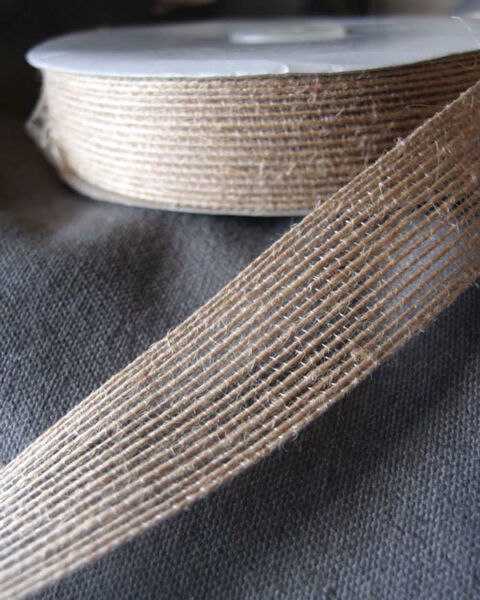Burlap Ribbon 1quot; wide 25 yards With Sewn Edge