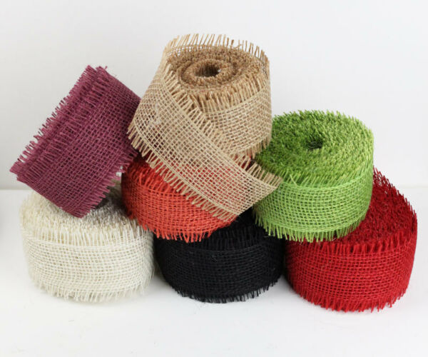 1.5quot; Burlap Ribbon 10 Yard Roll with Frayed Edges Available in 6 Colors