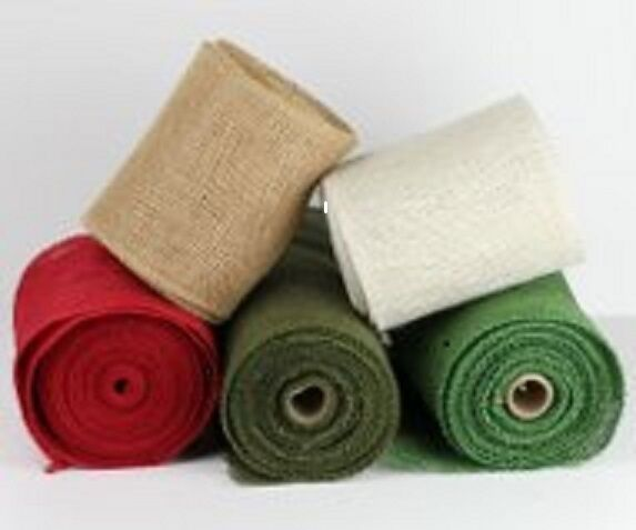 4quot; Burlap Ribbon 10 Yard Roll Finished Edges 5 colors