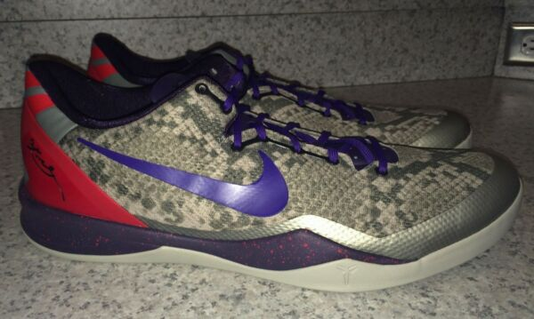 NEW Mens 18 NIKE KOBE 8 System Low Grey Purple Red Basketball Shoes Sneakers