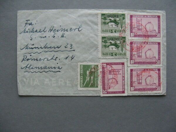 BOLIVIA cover to Germany 1956 oil gas energy $4.00