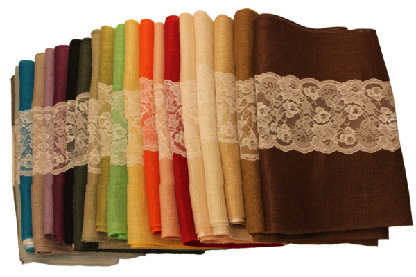 Colored Burlap Table Runner With White Lace 14quot; x 72quot;