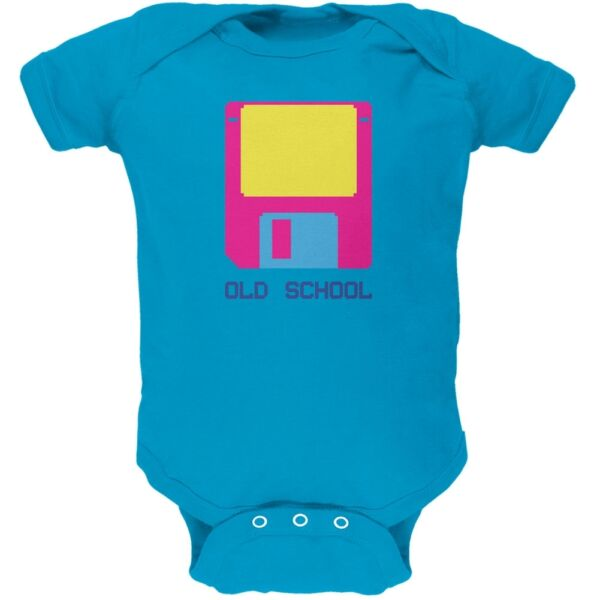Floppy Disc Old School 8 Bit Turquoise Soft Baby One Piece $14.95
