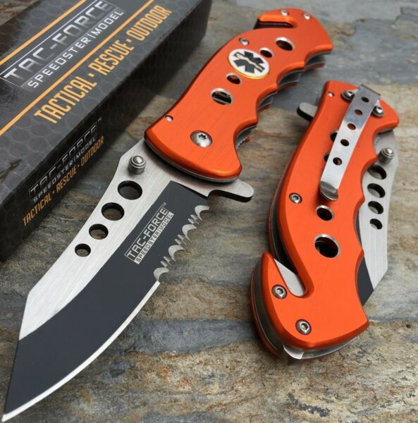 Tac Force Orange Emergency EMT EMS Rescue Handy Medical Pocket Knife