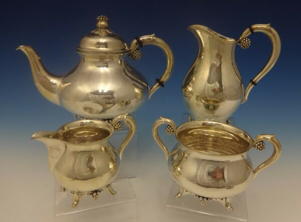 Grann & Laglye Danish Sterling Silver Tea Set 4pc with 3-D Flower Motif #0407