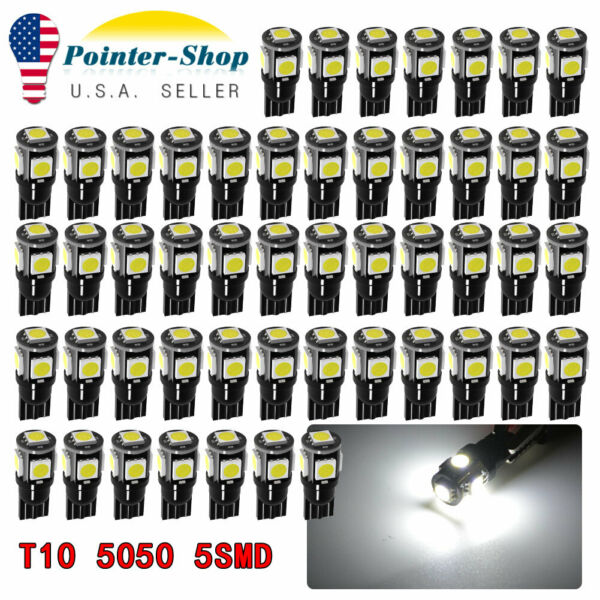 6000K White T10 192 LED 50PCS Car Interior License Plate Dome Map Light bulbs