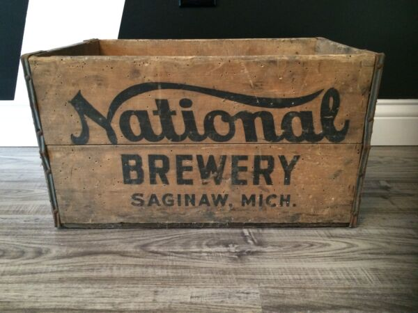 Very Rare Vintage National Brewery  Wood Soda Pop Beer Crate Case Saginaw Mi