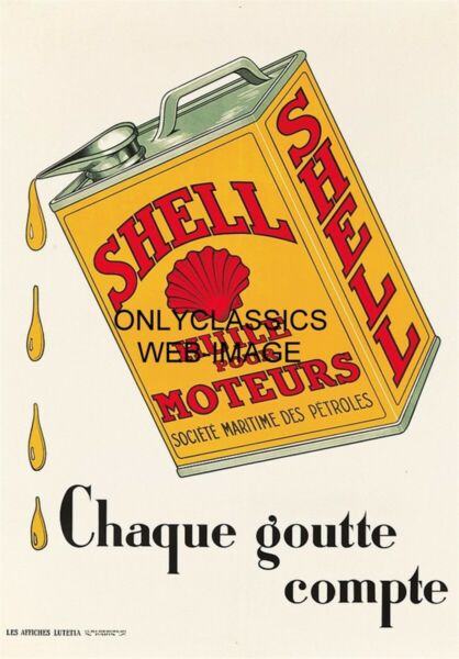 1930 SHELL GAS OIL CAN ART POSTER GREAT GRAPHICS AUTOMOBILIA PETROL PARIS FRANCE