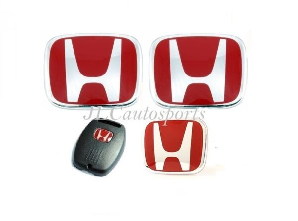 4PCS Front+Rear+Steeriing Wheel Red H Emblem+Key For 06-07 HONDA Accord 4DR/2Dr