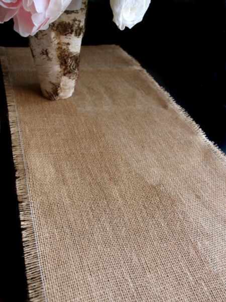 FRINGED BURLAP TABLE RUNNER 14quot; x 120quot; 100% PREMIUM BURLAP FABRIC