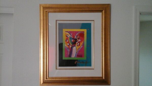 Peter Max Angel wtih Heart on Blends Mixed Media