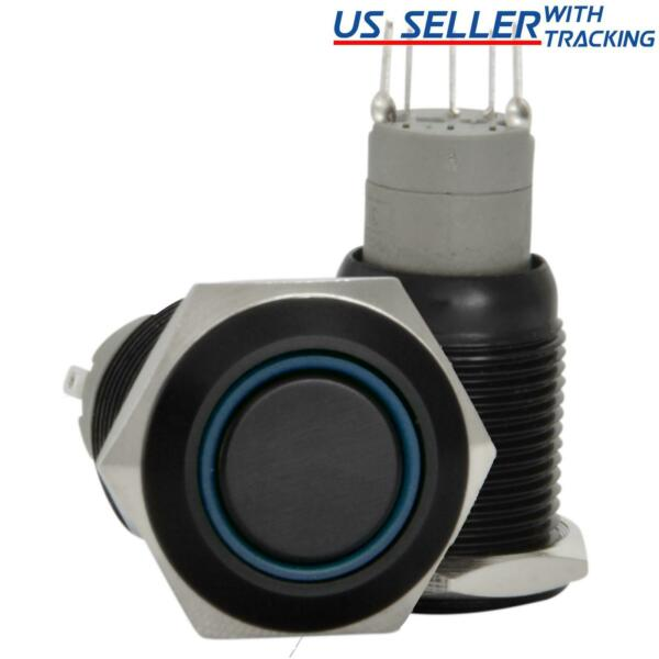 16mm 12V LED Momentary Push Button Black Metal Power Switch Blue