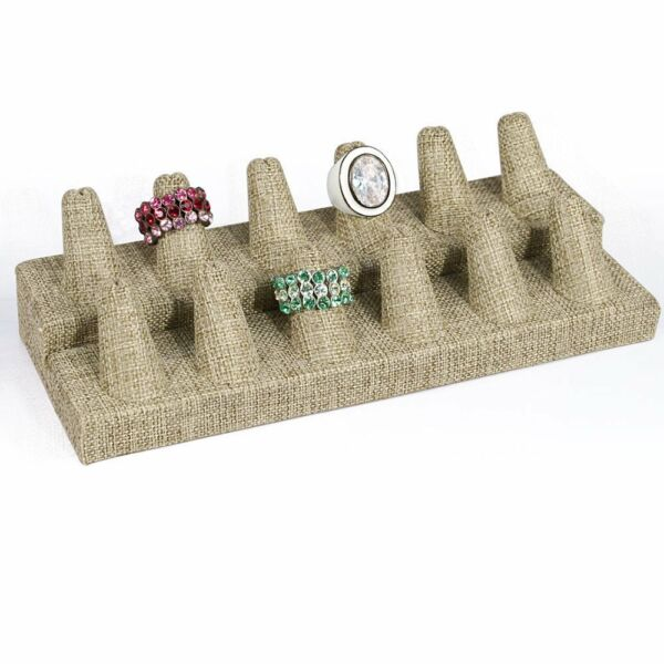 12 Finger Ring Display Modern Burlap Jewelry Ring Display Showcase Display Stand