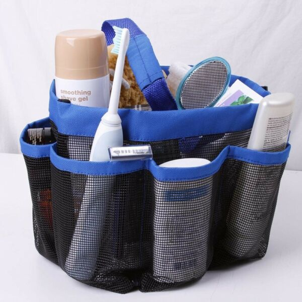 Shower Caddy Mesh 8 Pocket Portable Quick Dry Travel Tote Carry Handle Gym Dorm