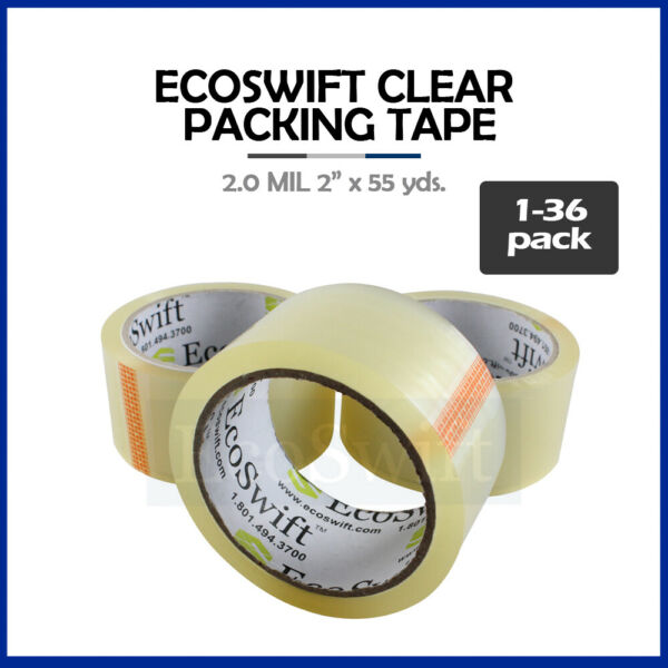 1-36 Roll EcoSwift Packing Packaging Carton Box Tape 2.0mil 2