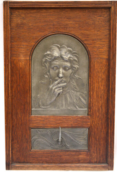 MAGNIFICENT 1900 SYMBOLIST  PEWTER WOOD PLAQUE BY KHNOPFF BELGIUM LISTED ARTIST