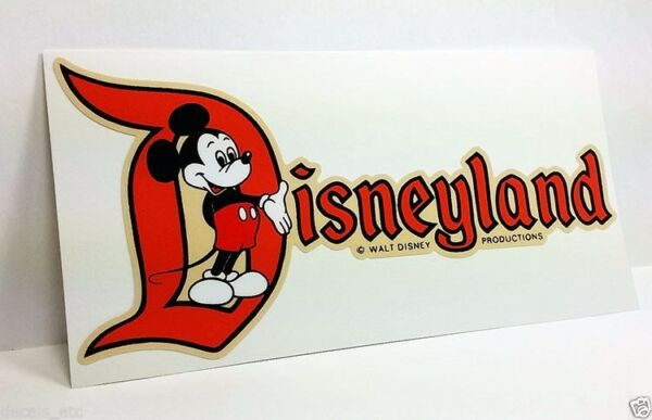 Disneyland CA Mickey Vintage Style Travel Decal  Vinyl Sticker Luggage Label