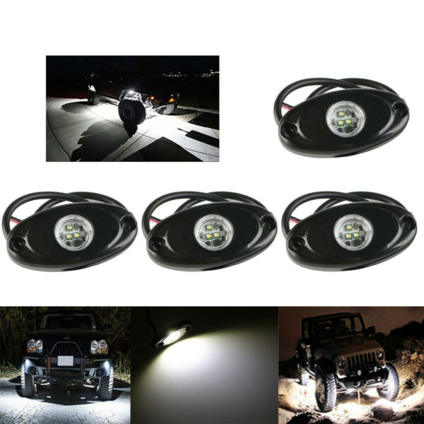 4pcs 9W White CREE LED Rock Light JEEP Off-road Truck Under Body Trail Rig Light