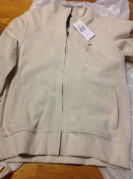Tommy Men#x27;s Full Zip Sweater Solid Milky White Size S NWT 40% Off $65 $38.99