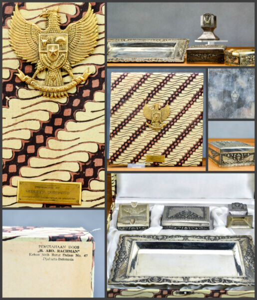 Top Quality! Smoking Set Ashtray Boxed Presented By General Soeharto Indonesia