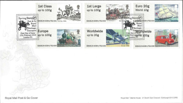 GB 2016 POST & GO FDC HERITAGE TRANSPORT STAMPEX LADYBIRDS LOCOMOTIVE RM 500