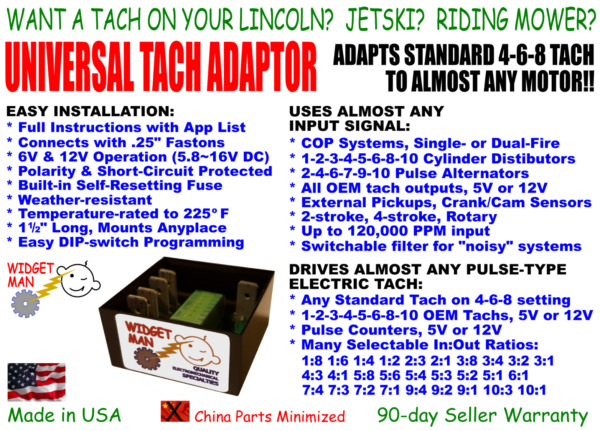 UNIVERSAL TACH ADAPTER CONVERTER COP 1 2 3 4 5 6 8 10 cyl to any 4 6 8 Tach