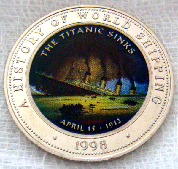 SOMALIA: 1998 250 SHILLINGS THE TITANIC SINKS COLOUR PROOF COIN .925 SILVER