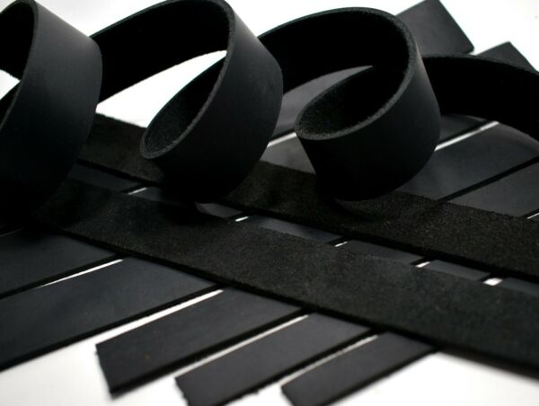 SECONDS: Black Oil-Tanned Leather (5-6oz Medium Weight) Strip Strap LeatherRush