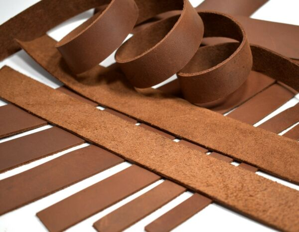 SECONDS: ONE Brown Cowhide Leather (Med Wgt) Strip Strap (5-6oz 564