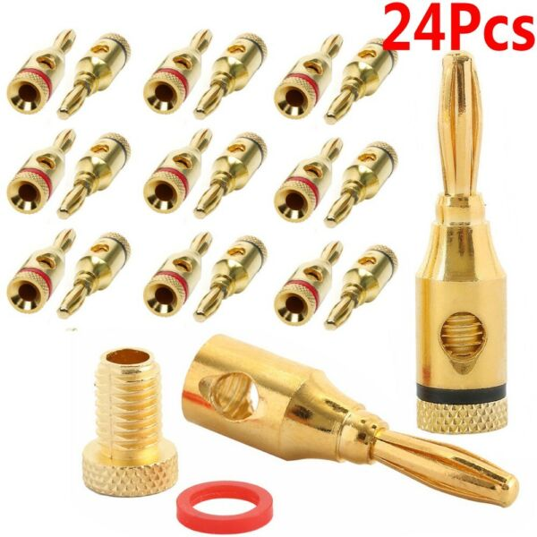 24Pcs Gold 24K Male Banana Plugs Audio Jack Speaker Wire Cable Screw Connector