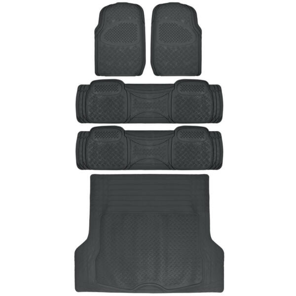 Heavy Duty SUV Rubber Floor Mats Combo Pack 3 Rows PLUS Cargo Liner Black