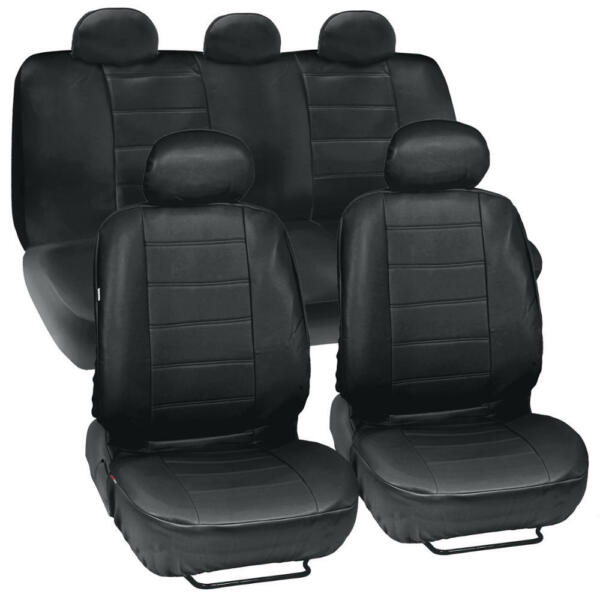 PU Synthetic Leather Black Seat Cover Car Genuine Leather Feel Front