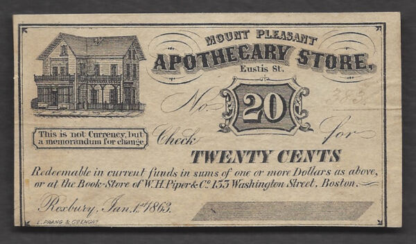 20 c=1863=MOUNT PLEASANT APOTHECARY STORE=EUSTIS ST=MA=UNSIGNED REMAINDER=CH NEW