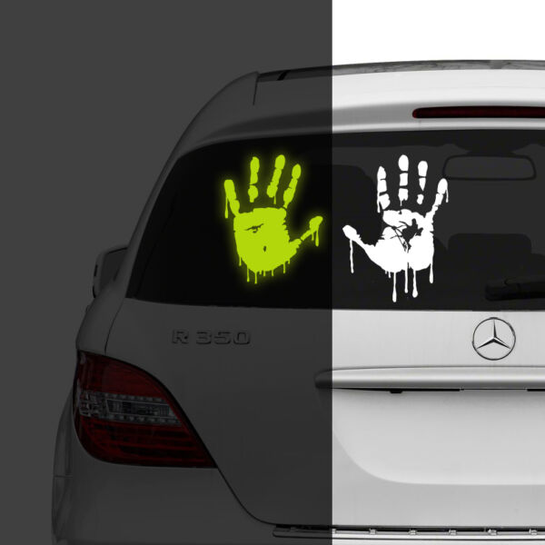 Glow in Dark Car Sticker Bloody Hands Decal Light Glowing Luminous Fluorescent